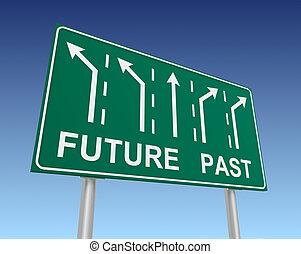 παρελθών , μέλλον , δρόμος αναχωρώ