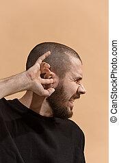 παστέλ , πονώ , άθυμος , φόντο. , στούντιο , άντραs , αυτί , ache., ή , πονοκέφαλοs