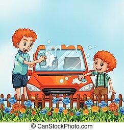 πατέραs , υιόs , πλύση , αυτοκίνητο