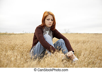 πεδίο , κορίτσι , μοναχικός , άθυμος , red-haired