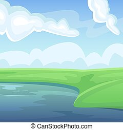 πεδίο , τοπίο , γεωργία , φυσικός , fields., καλοκαίρι , lake., πράσινο , γραφική εξοχική έκταση. , γεωργικός , αγροκαλλιέργεια.