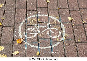 πεζοδρόμιο , ποδήλατο , πέτρα , σήμα κυκλοφορίας