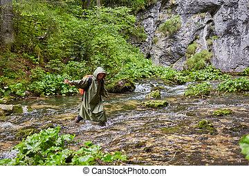 πεζοπόρος , ατραπός , γυναίκα , ποτάμι