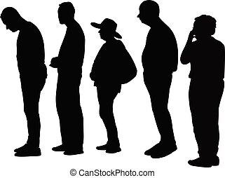 περίγραμμα , άνθρωποι , γραμμή , αναμονή , μικροβιοφορέας