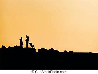 περίγραμμα , άνθρωποι , φύση , ηλιοβασίλεμα