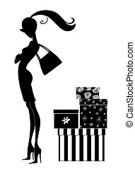 περίγραμμα , από , ένα , κομψός , νέα γυναίκα , ψώνια