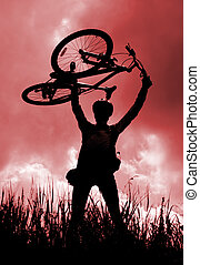 περίγραμμα , από , ένα , biker , κράτημα , δικός του , ποδήλατο