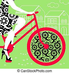 περίγραμμα , από , όμορφος , κορίτσι , επάνω , ποδήλατο