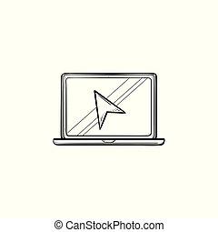 περίγραμμα , γράφω άσκοπα , laptop , χέρι , δρομέας , μετοχή του draw , icon.