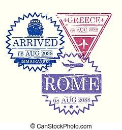 περίγραμμα , γραφικός , ταξιδεύω , αποτύπωμα , ρώμη , ελλάδα , πλοίο , αεροπλάνο