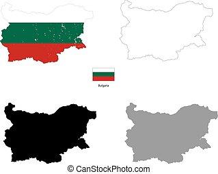 περίγραμμα , εξοχή , σημαία , μαύρο φόντο , βουλγαρία