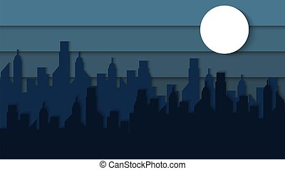 περίγραμμα , θέα , όμορφος , κόβω , πόλη , μικροβιοφορέας , χαρτί , φόρμα , απλό , νύκτα , φόντο