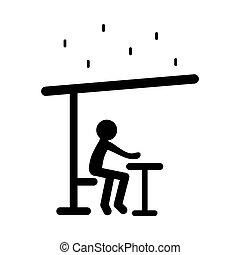 περίγραμμα , κάθονται , εσωτερικός , οροφή , μικροβιοφορέας , εικόνα , ανθρώπινος , βροχή , αλίσκομαι