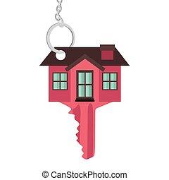περίγραμμα , κλειδί , κόκκινο , χρώμα , με , σχήμα , σπίτι