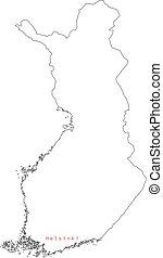 περίγραμμα , μικροβιοφορέας , φινλανδία , κεφάλαιο , χάρτηs , εικόνα , helsinki., πόλη