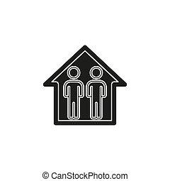 περίγραμμα , οικογένεια , house., εικόνα , μικροβιοφορέας , σχετικός με την σύλληψη ή αντίληψη , εικόνα