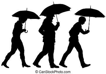 περίγραμμα , ομπρέλα , άνθρωποι