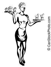 περίγραμμα , σερβιτόρα