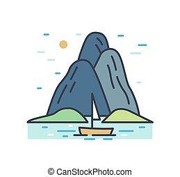 περίγραμμα , ταξίδι , φόντο. , βουνά , γραφική εξοχική έκταση. , θάλασσα , ναυτικό , θέα , γραμμή , απλό , άσπρο , βάρκα , καλοκαίρι , απομονωμένος , μικροβιοφορέας , ή , γραφικός , ρομαντικός , εικόνα , hills., τέχνη , γραφικός