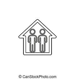 περίγραμμα , house., οικογένεια , εικόνα