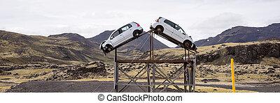 περίθαλψη , ατύχημα , ανάπτυξη , risk., άμαξα αυτοκίνητο , δυο , άκρα του δρόμου