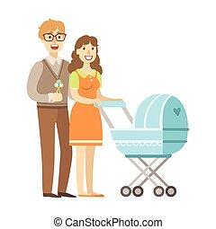 περίπατος , ειδών ή πραγμάτων , σειρά , νέος , εικόνα , γονείς , καροτσάκι βρέφους , ευτυχισμένος , τρυφερός