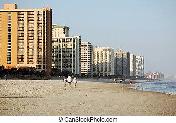 περίπατος , μυρτιά , παραλία , κατά μήκος