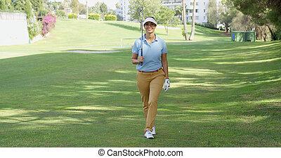 περίπατος , πορεία , παίζων γκολφ , γυναίκα ευθυμία , φιλικά...