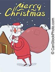 περίπατος , σπίτι , character., παρουσιαστικό , αστείος , lettering., xριστούγεννα , κάθετος , χιονάτος , μεγάλος , claus , space., santa , αντίγραφο , γελοιογραφία , κάρτα , illustration., αόρ. του lose , confused., τσάντα , μικροβιοφορέας , night.