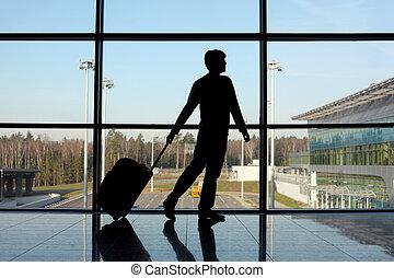 περίπατος , σωστό , περίγραμμα , αποσκευέs , παράθυρο , αεροδρόμιο , άντραs