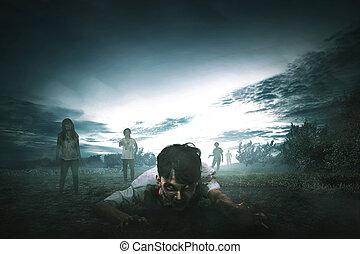 περίπατος , τριγύρω , όχλος , θυμωμένος , ανατριχιαστικός , ζεσεεδ , ασιάτης , zombies