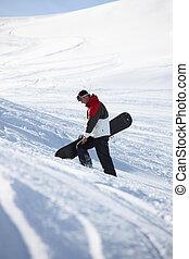 περίπατος , mountainside , snowboarder , πάνω
