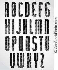 περίπτωση , ανώτερος , γραφικός , στρογγυλεμένα , γράμματα , βιομηχανικός , μαύρο , dotty, font.