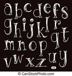 περίπτωση , ρυθμός , γράμματα , αλφάβητο , χαμηλώνω , χέρι , μολύβι , board., μετοχή του draw , μαύρο
