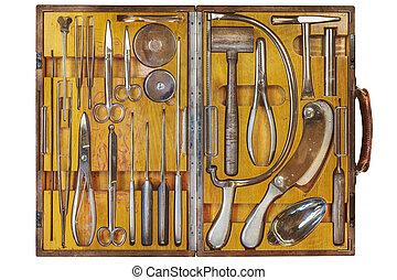 περίπτωση , φόντο , άσπρο , γιατρός , χειρουργικός , ξύλινος , εξοπλισμός , απομονωμένος , αρχαίος
