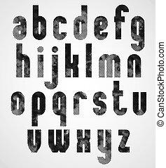 περίπτωση , χαμηλώνω , βιομηχανικός , γράμματα , γραφικός , μαύρο , dotty, font.
