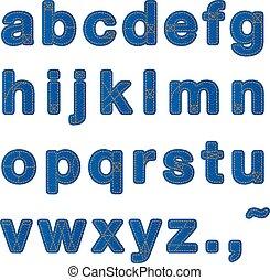 περίπτωση , χαμηλώνω , μπλε , αλφάβητο , χονδρό παντελόνι εργασίας , sewing., typo