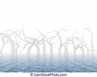 περίχωρα , νεκρός , νερό , πλημμύρα , δέντρα , φόντο ,...