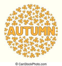 περιβάλλω , λέξη , illustration., leaf., δέντρο , φθινόπωρο , μικροβιοφορέας , φόντο