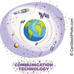 περιβάλλω , stars., διάστημα , επικοινωνία , λεπτός , καθολικός , απομονωμένος , τεχνητό , theme., πλανήτης , δορυφόρος , μικροβιοφορέας , ρουκέτα , εικόνα , white., γη , γραμμή , τεχνολογία , 3d