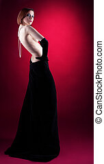 περιδέραιο , γυναίκα , γυμνός , ρυθμός , retro , πορτραίτο...