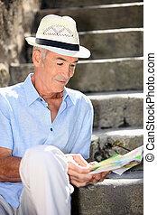 περιοδικό , διάβασμα , γέροντας