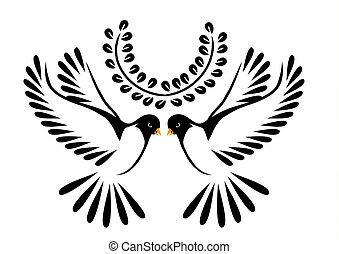 περιστέρα , πτήση , ή , πουλί