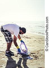 περισυλλογή , ακτή , πλαστικά είδη , εθελοντής