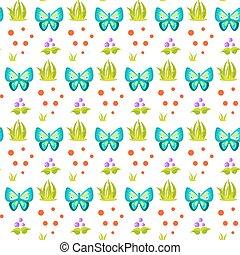 πεταλούδα , άνοιξη , δεμάτι , pattern., δάσοs , γρασίδι