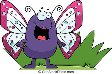 πεταλούδα , γρασίδι , γελοιογραφία