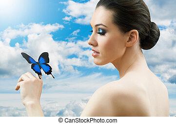 πεταλούδα , γυναίκα