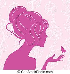 πεταλούδα , κορίτσι , περίγραμμα , ομορφιά