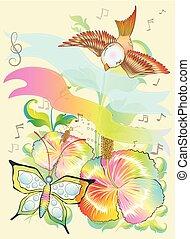 πεταλούδα , λουλούδι , φύση , σύγχρονος , φαντασία , μικροβιοφορέας , σχεδιάζω , πουλί