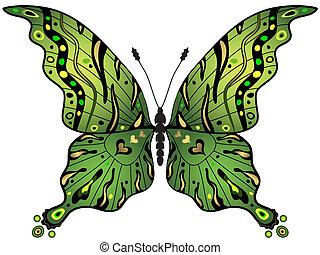 πεταλούδα , green-gold
